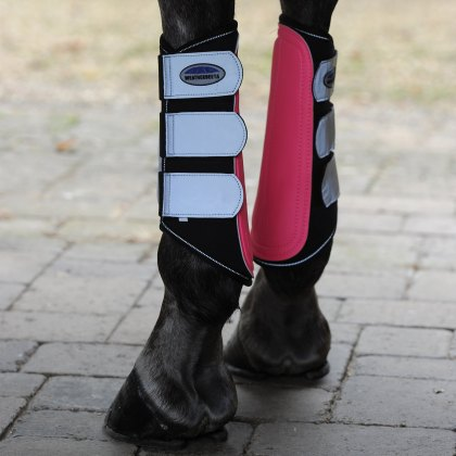 WeatherBeeta Reflective Single Lock Brushing Boots Silver/Pink
