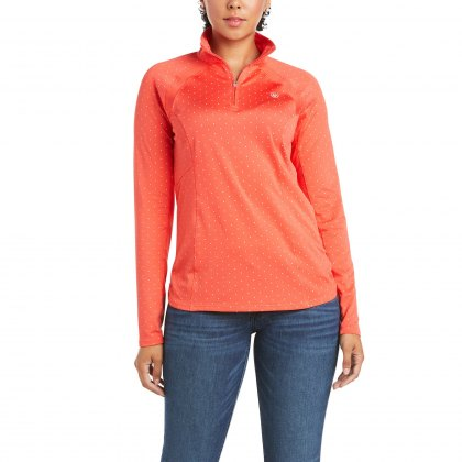 Ariat® Ladies Sunstopper 1/4 Zip Cayenne Dot