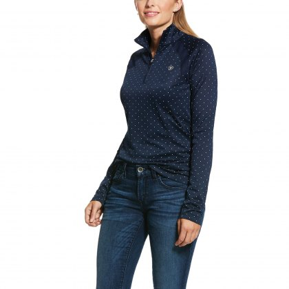 Ariat® Ladies Sunstopper 1/4 Zip Navy Dot