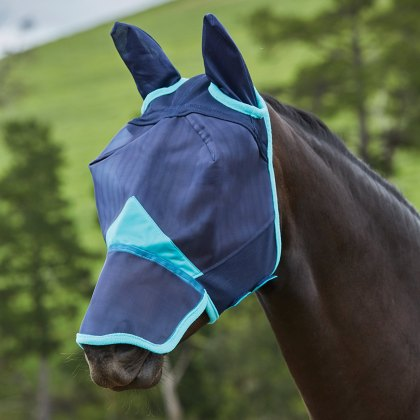 WeatherBeeta ComFiTec Fine Mesh Mask With Ears & Nose Navy/Turquoise
