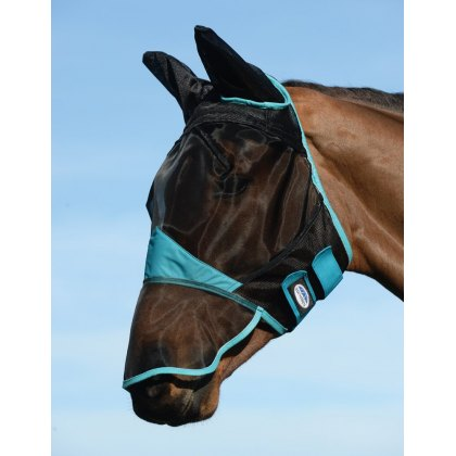 WeatherBeeta ComFitec Fine Mesh Fly Mask Nose and Ears Black/Turquoise